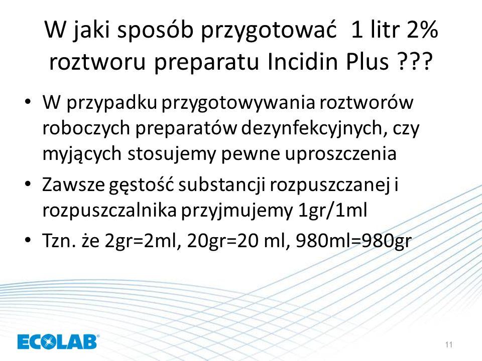 W jaki sposób przygotować 1 litr 2% roztworu preparatu Incidin Plus