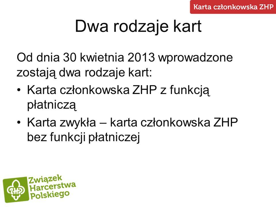 Dwa rodzaje kartOd dnia 30 kwietnia 2013 wprowadzone zostają dwa rodzaje kart: Karta członkowska ZHP z funkcją płatniczą.