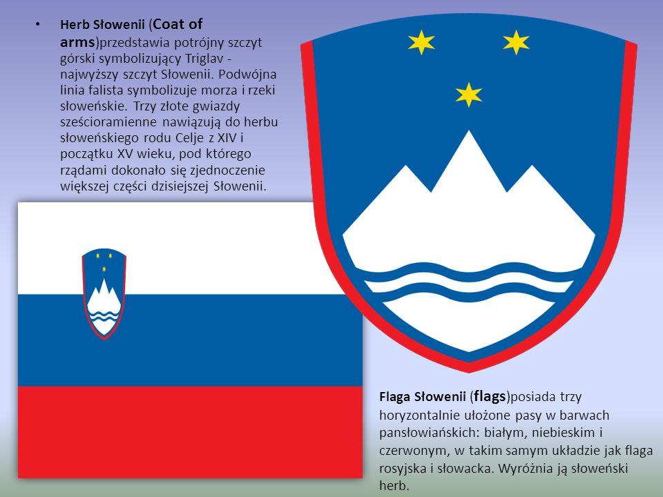 Herb Słowenii (Coat of arms)przedstawia potrójny szczyt górski symbolizujący Triglav - najwyższy szczyt Słowenii. Podwójna linia falista symbolizuje morza i rzeki słoweńskie. Trzy złote gwiazdy sześcioramienne nawiązują do herbu słoweńskiego rodu Celje z XIV i początku XV wieku, pod którego rządami dokonało się zjednoczenie większej części dzisiejszej Słowenii.
