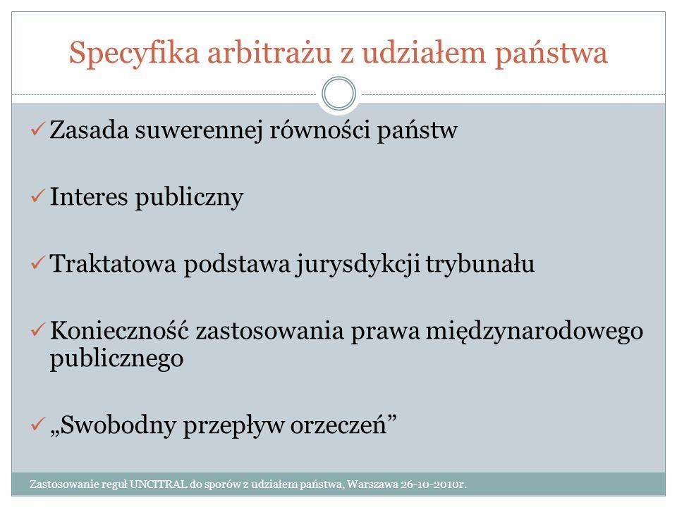 Specyfika arbitrażu z udziałem państwa