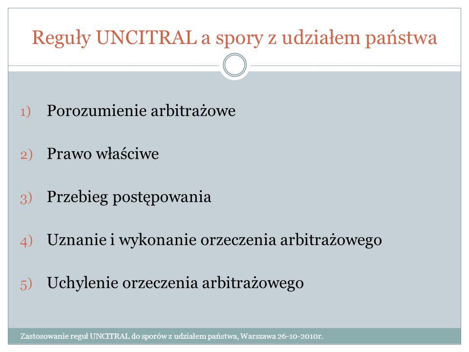 Reguły UNCITRAL a spory z udziałem państwa