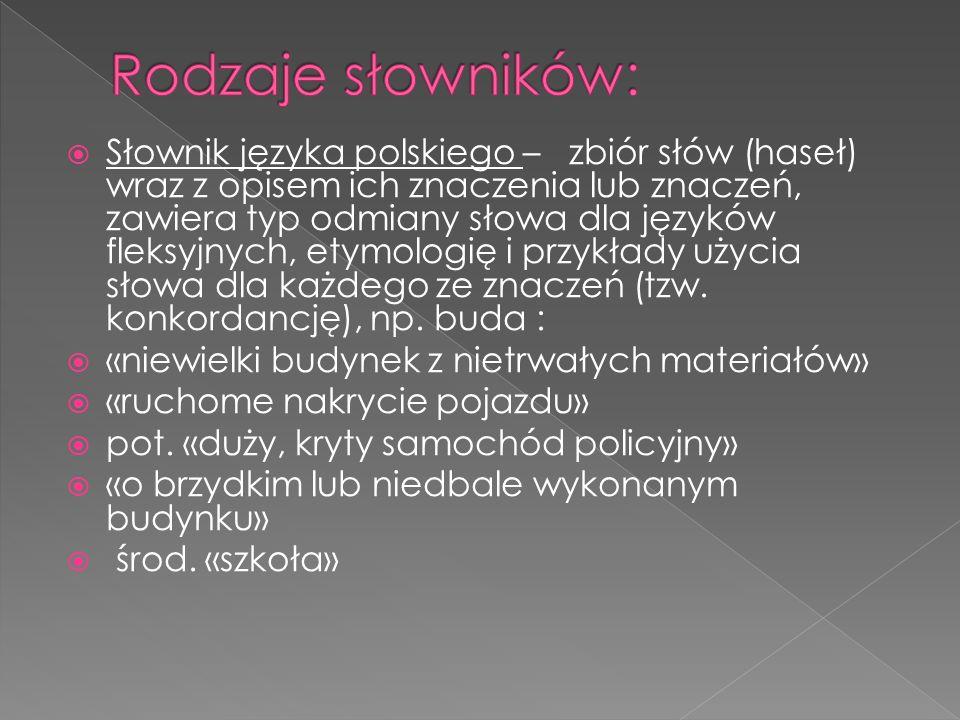 Rodzaje słowników: