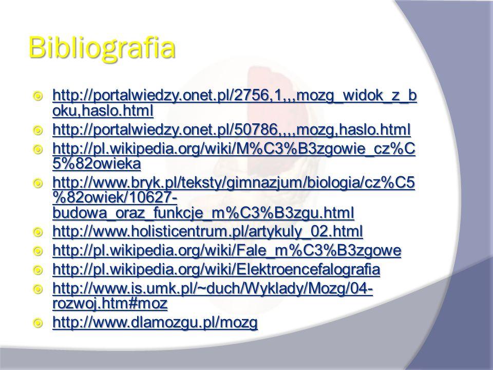 Bibliografia http://portalwiedzy.onet.pl/2756,1,,,mozg_widok_z_boku,haslo.html. http://portalwiedzy.onet.pl/50786,,,,mozg,haslo.html.