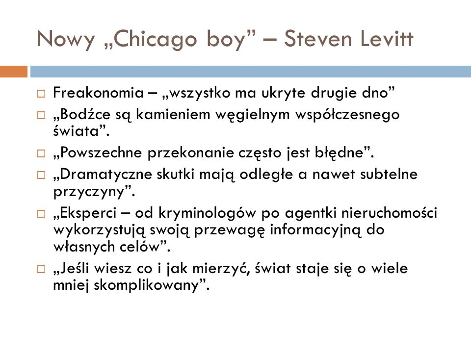 "Nowy ""Chicago boy – Steven Levitt"