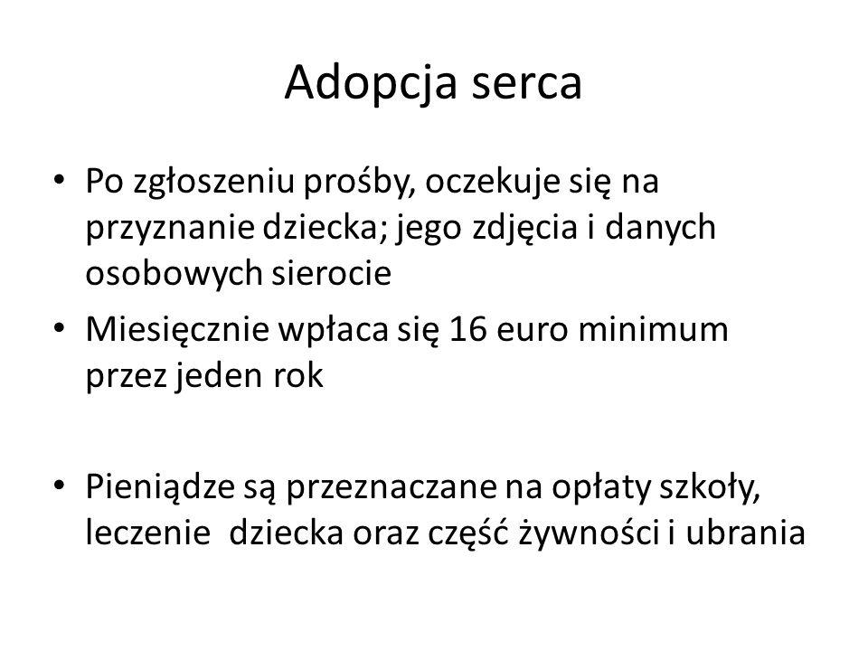 Adopcja sercaPo zgłoszeniu prośby, oczekuje się na przyznanie dziecka; jego zdjęcia i danych osobowych sierocie.