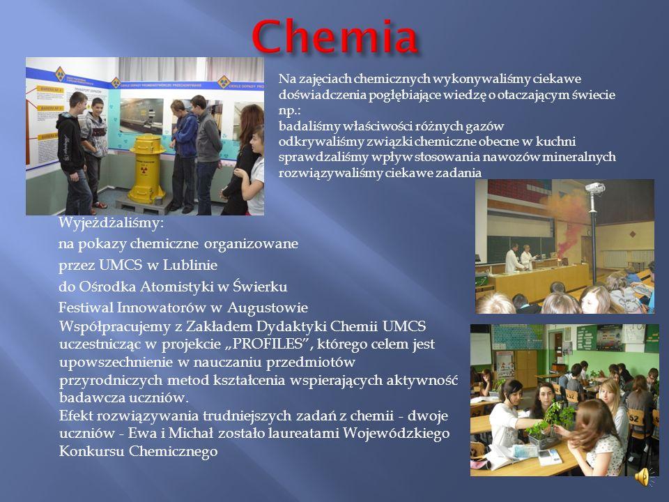 Chemia Na zajęciach chemicznych wykonywaliśmy ciekawe doświadczenia pogłębiające wiedzę o otaczającym świecie np.: