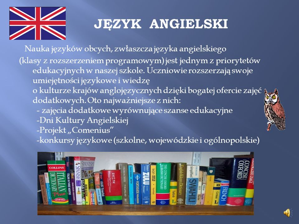 JĘZYK ANGIELSKI Nauka języków obcych, zwłaszcza języka angielskiego