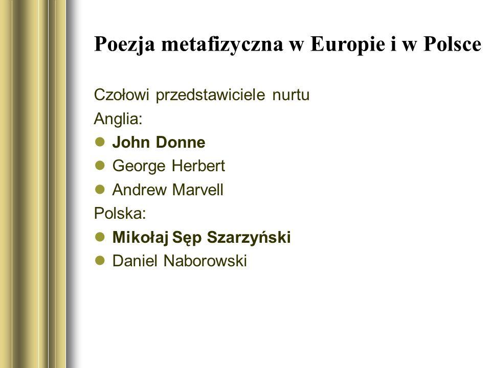 Poezja metafizyczna w Europie i w Polsce