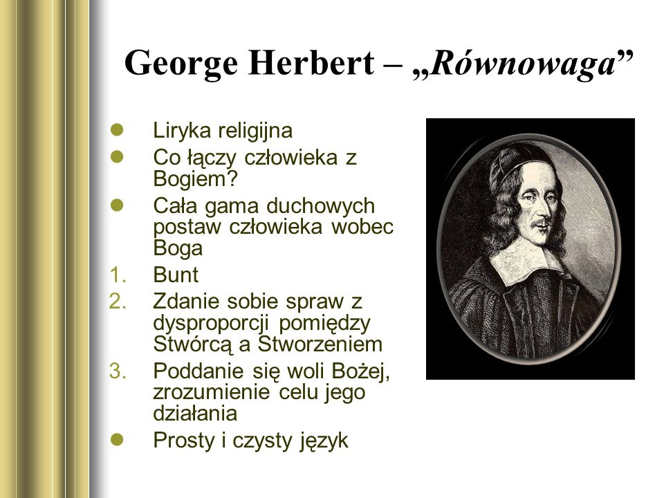 """George Herbert – """"Równowaga"""