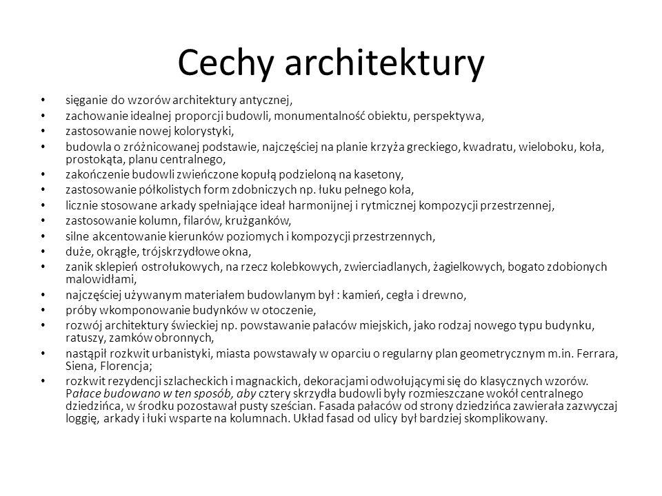 Cechy architektury sięganie do wzorów architektury antycznej,