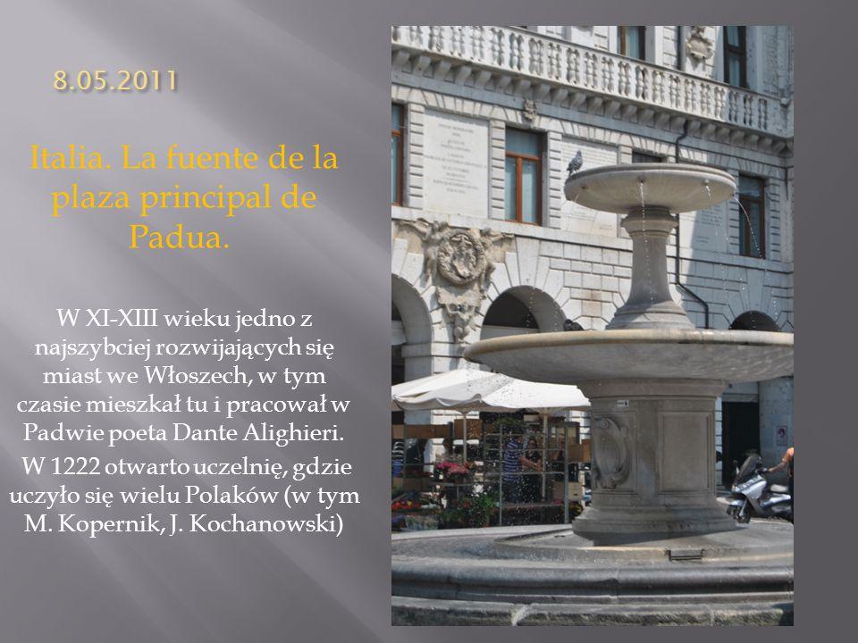 Italia. La fuente de la plaza principal de Padua.