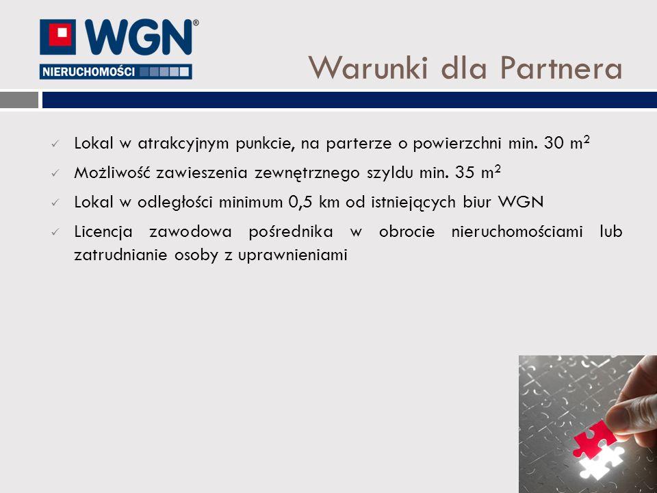 Warunki dla Partnera Lokal w atrakcyjnym punkcie, na parterze o powierzchni min. 30 m2. Możliwość zawieszenia zewnętrznego szyldu min. 35 m2.