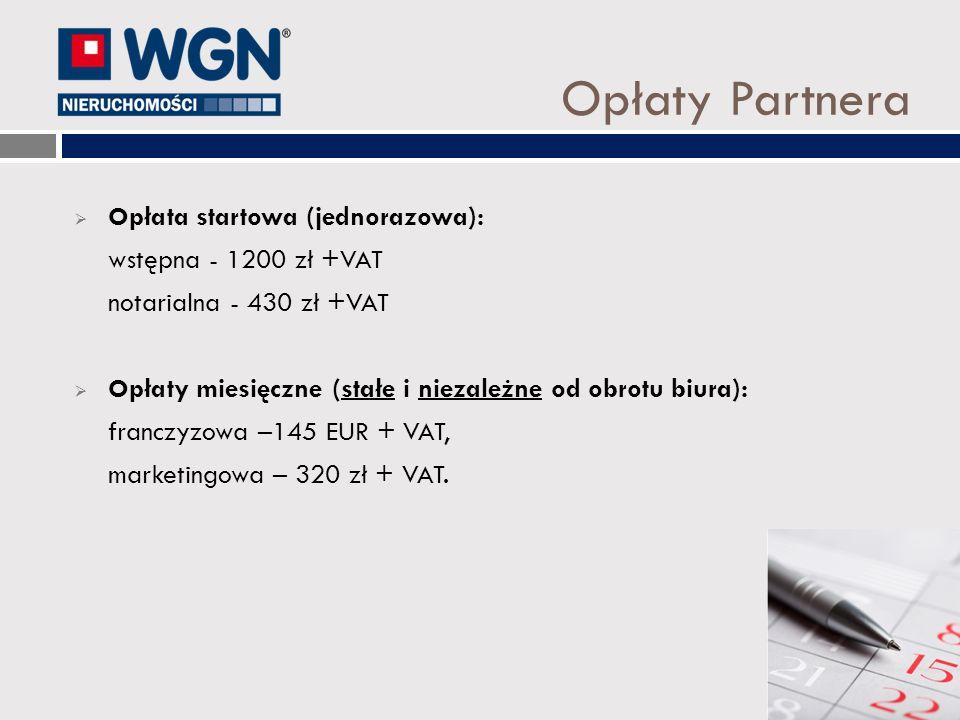 Opłaty Partnera Opłata startowa (jednorazowa): wstępna - 1200 zł +VAT