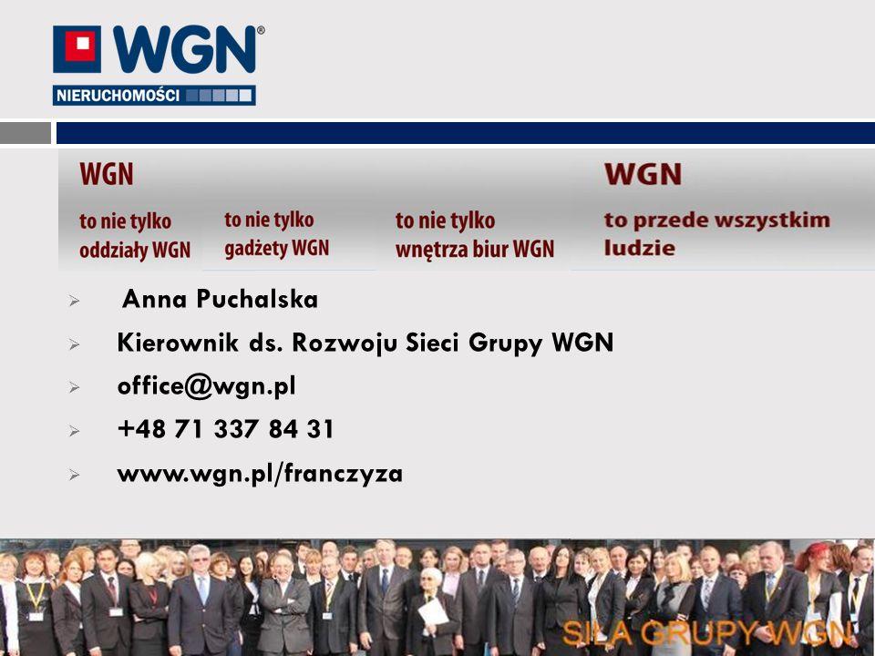 Anna Puchalska Kierownik ds. Rozwoju Sieci Grupy WGN.