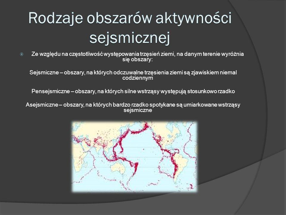 Rodzaje obszarów aktywności sejsmicznej