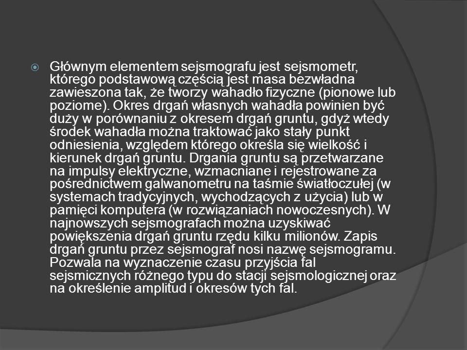 Głównym elementem sejsmografu jest sejsmometr, którego podstawową częścią jest masa bezwładna zawieszona tak, że tworzy wahadło fizyczne (pionowe lub poziome).