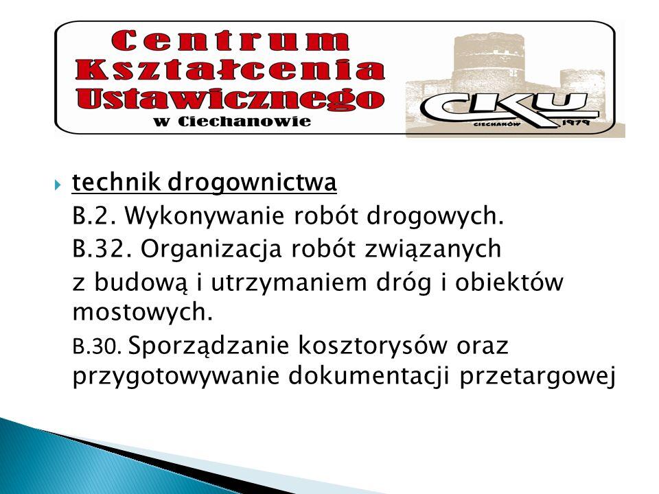 technik drogownictwaB.2. Wykonywanie robót drogowych. B.32. Organizacja robót związanych. z budową i utrzymaniem dróg i obiektów mostowych.