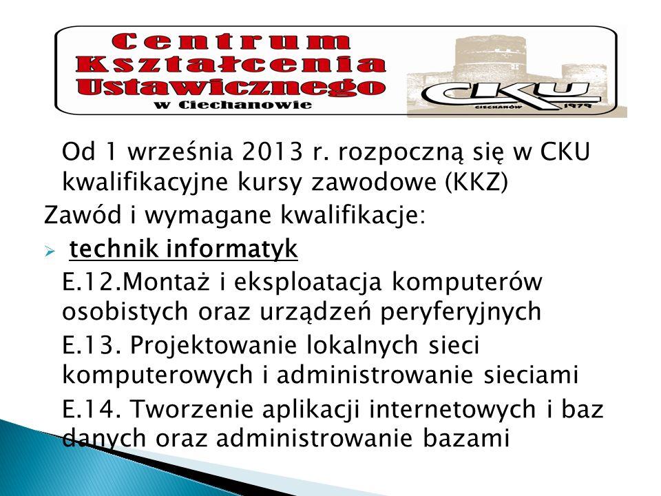 Od 1 września 2013 r. rozpoczną się w CKU kwalifikacyjne kursy zawodowe (KKZ)