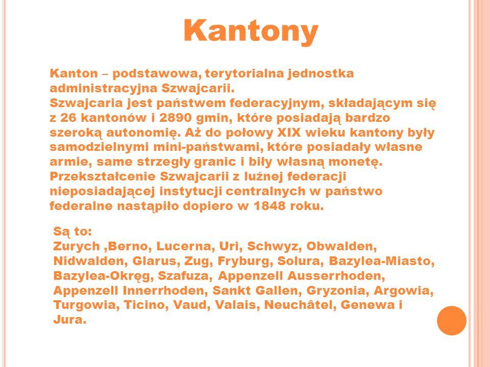 Kantony Kanton – podstawowa, terytorialna jednostka administracyjna Szwajcarii.