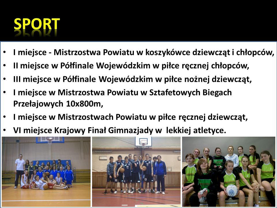 SPORT I miejsce - Mistrzostwa Powiatu w koszykówce dziewcząt i chłopców, II miejsce w Półfinale Wojewódzkim w piłce ręcznej chłopców,