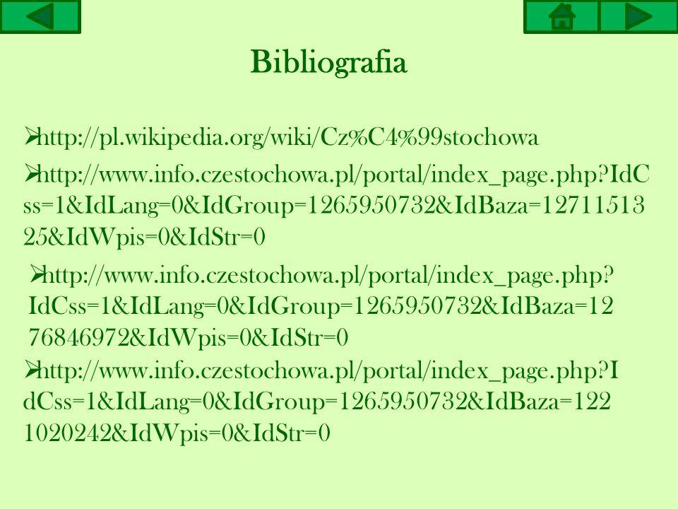 Bibliografia http://pl.wikipedia.org/wiki/Cz%C4%99stochowa