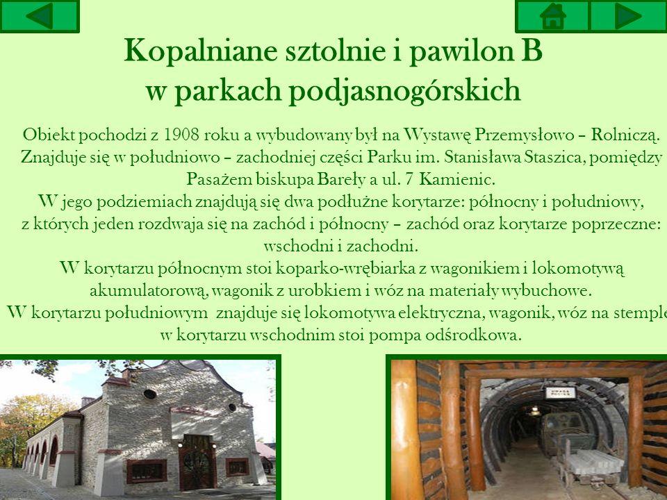 Kopalniane sztolnie i pawilon B w parkach podjasnogórskich