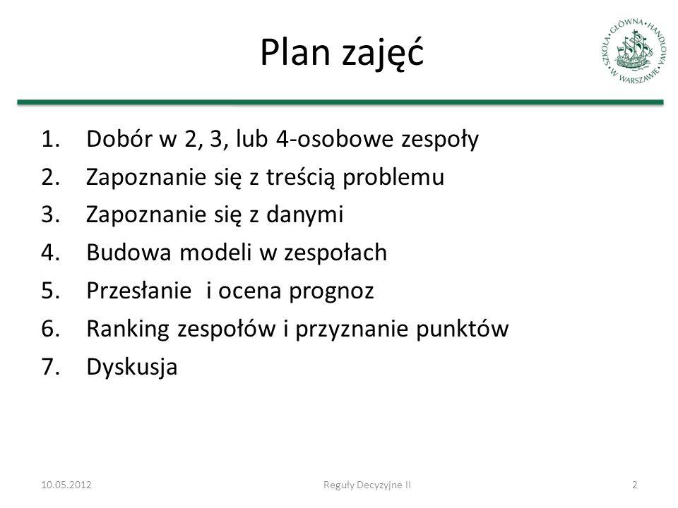 Plan zajęć Dobór w 2, 3, lub 4-osobowe zespoły