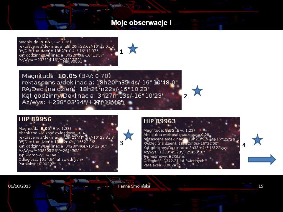 Moje obserwacje I 1 2 3 4 01/10/2013 Hanna Smolińska 15 2013-10-01