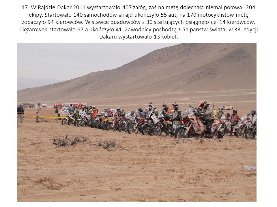 17. W Rajdzie Dakar 2011 wystartowało 407 załóg, zaś na metę dojechała niemal połowa -204 ekipy.