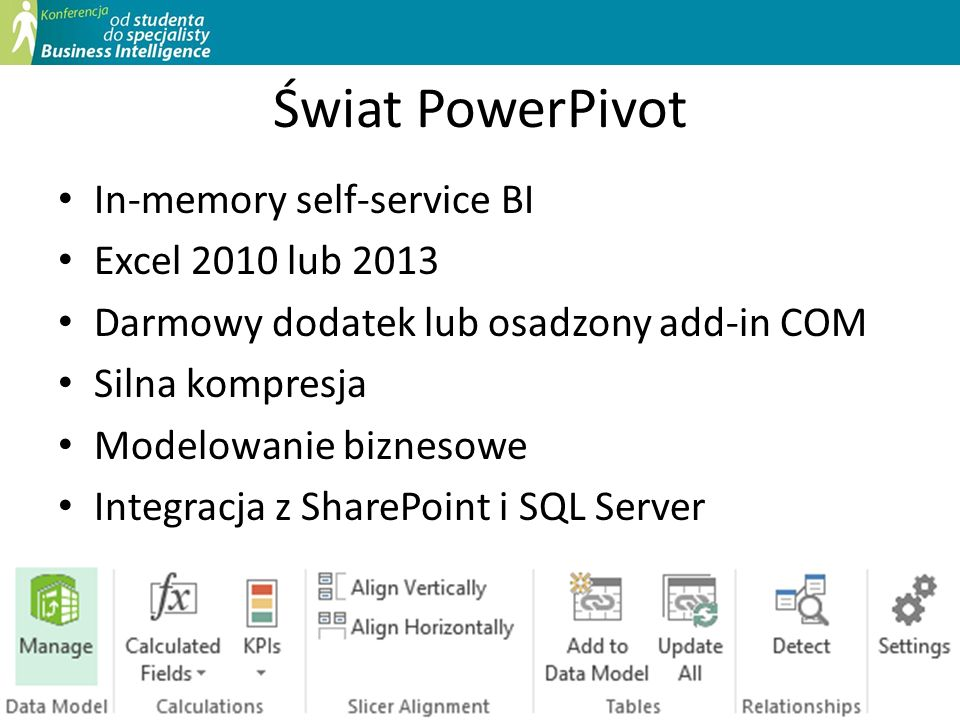 Świat PowerPivot In-memory self-service BI Excel 2010 lub 2013