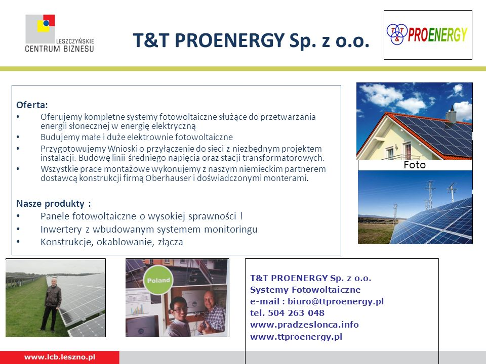 T&T PROENERGY Sp. z o.o. Foto Foto Foto Foto Foto Oferta: