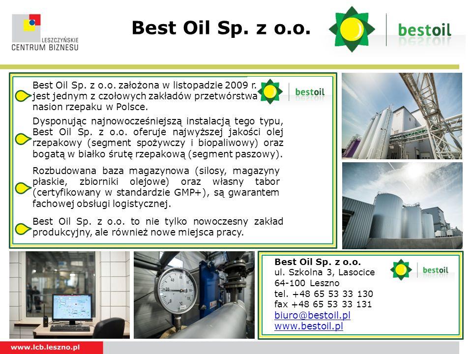 Best Oil Sp. z o.o.Logotyp. Best Oil Sp. z o.o. założona w listopadzie 2009 r.