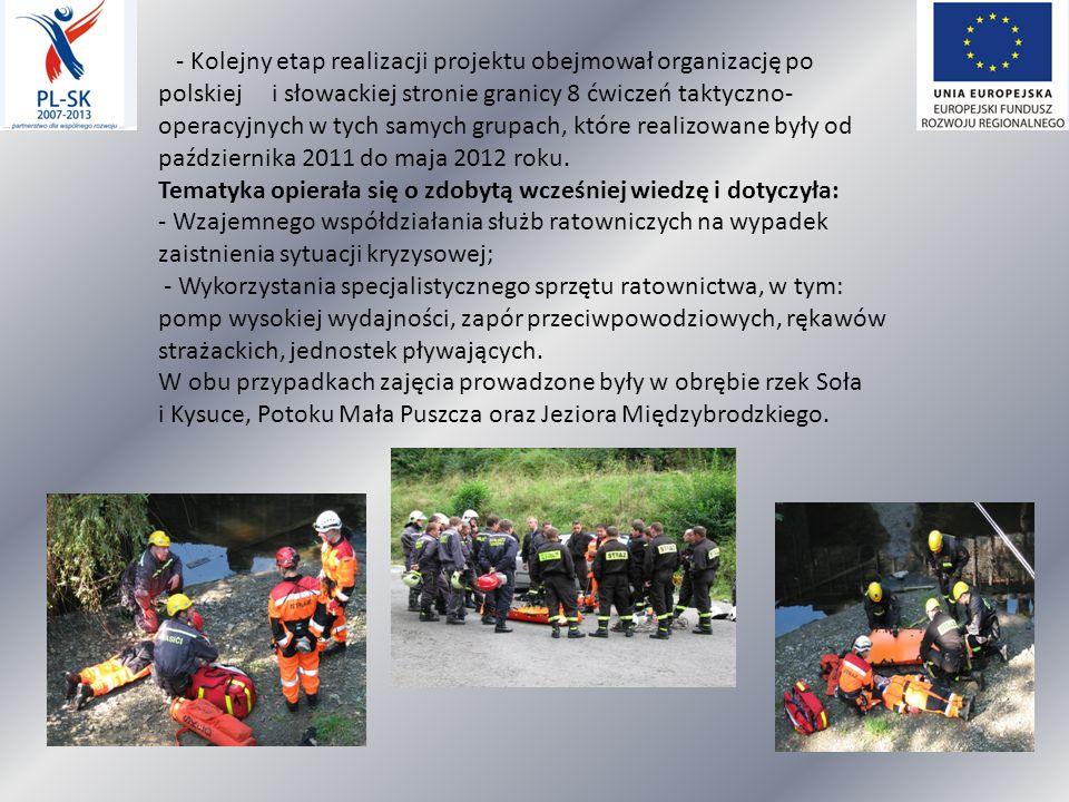 - Kolejny etap realizacji projektu obejmował organizację po polskiej i słowackiej stronie granicy 8 ćwiczeń taktyczno-operacyjnych w tych samych grupach, które realizowane były od października 2011 do maja 2012 roku.