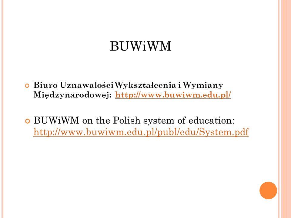 BUWiWM Biuro Uznawalości Wykształcenia i Wymiany Międzynarodowej: http://www.buwiwm.edu.pl/