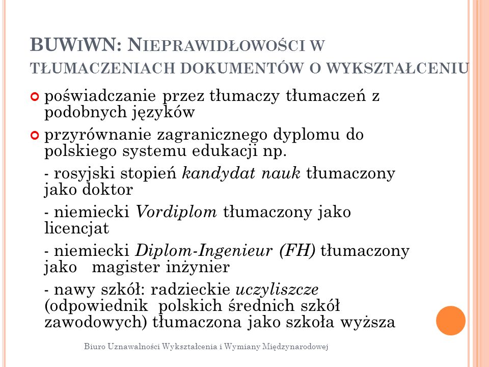 BUWiWN: Nieprawidłowości w tłumaczeniach dokumentów o wykształceniu