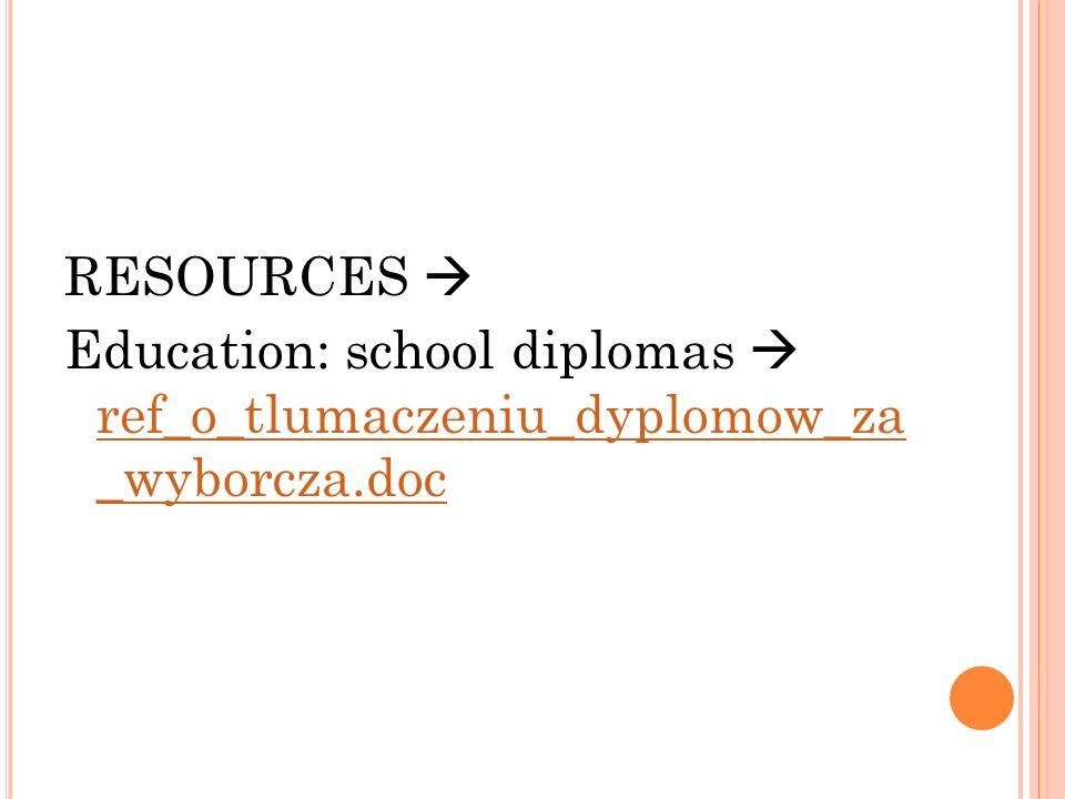 RESOURCES  Education: school diplomas  ref_o_tlumaczeniu_dyplomow_za _wyborcza.doc