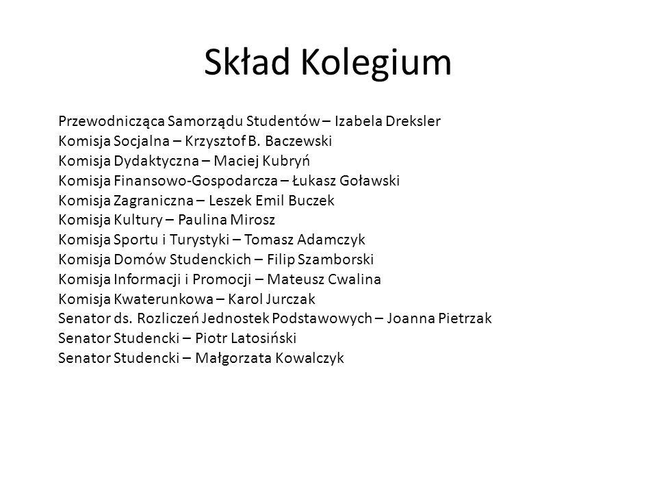 Skład Kolegium Przewodnicząca Samorządu Studentów – Izabela Dreksler