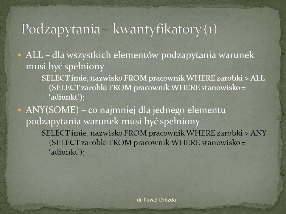 Podzapytania – kwantyfikatory (1)