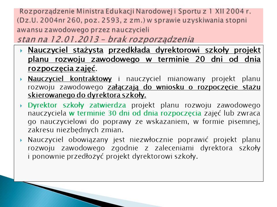 Rozporządzenie Ministra Edukacji Narodowej i Sportu z 1 XII 2004 r. (Dz.U. 2004nr 260, poz. 2593, z zm.) w sprawie uzyskiwania stopni awansu zawodowego przez nauczycieli stan na 12.01.2013 – brak rozporządzenia