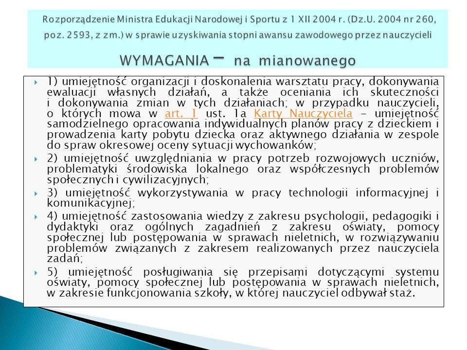 Rozporządzenie Ministra Edukacji Narodowej i Sportu z 1 XII 2004 r. (Dz.U. 2004 nr 260, poz. 2593, z zm.) w sprawie uzyskiwania stopni awansu zawodowego przez nauczycieli WYMAGANIA – na mianowanego