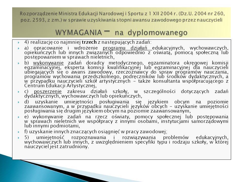 Rozporządzenie Ministra Edukacji Narodowej i Sportu z 1 XII 2004 r. (Dz.U. 2004 nr 260, poz. 2593, z zm.) w sprawie uzyskiwania stopni awansu zawodowego przez nauczycieli WYMAGANIA – na dyplomowanego