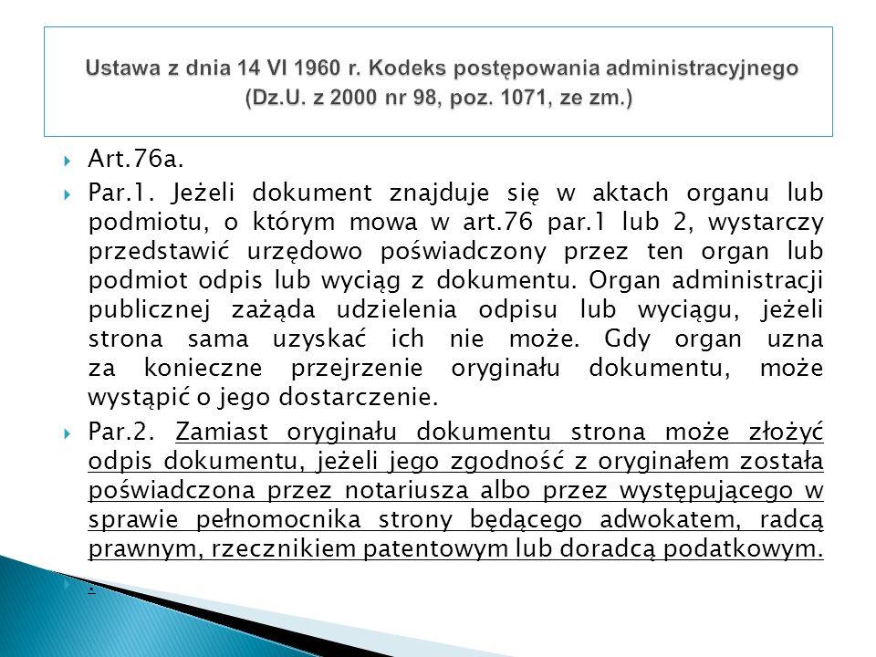 Ustawa z dnia 14 VI 1960 r. Kodeks postępowania administracyjnego (Dz