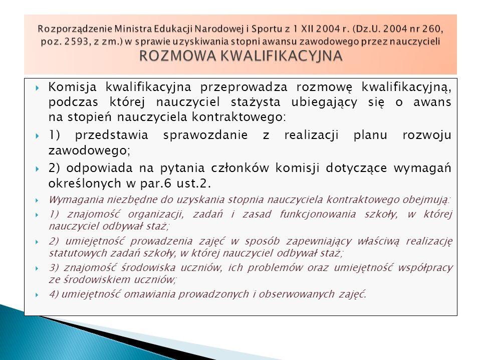 1) przedstawia sprawozdanie z realizacji planu rozwoju zawodowego;