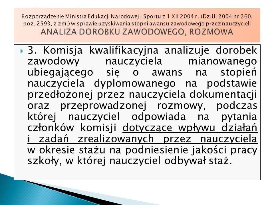 Rozporządzenie Ministra Edukacji Narodowej i Sportu z 1 XII 2004 r. (Dz.U. 2004 nr 260, poz. 2593, z zm.) w sprawie uzyskiwania stopni awansu zawodowego przez nauczycieli ANALIZA DOROBKU ZAWODOWEGO, ROZMOWA