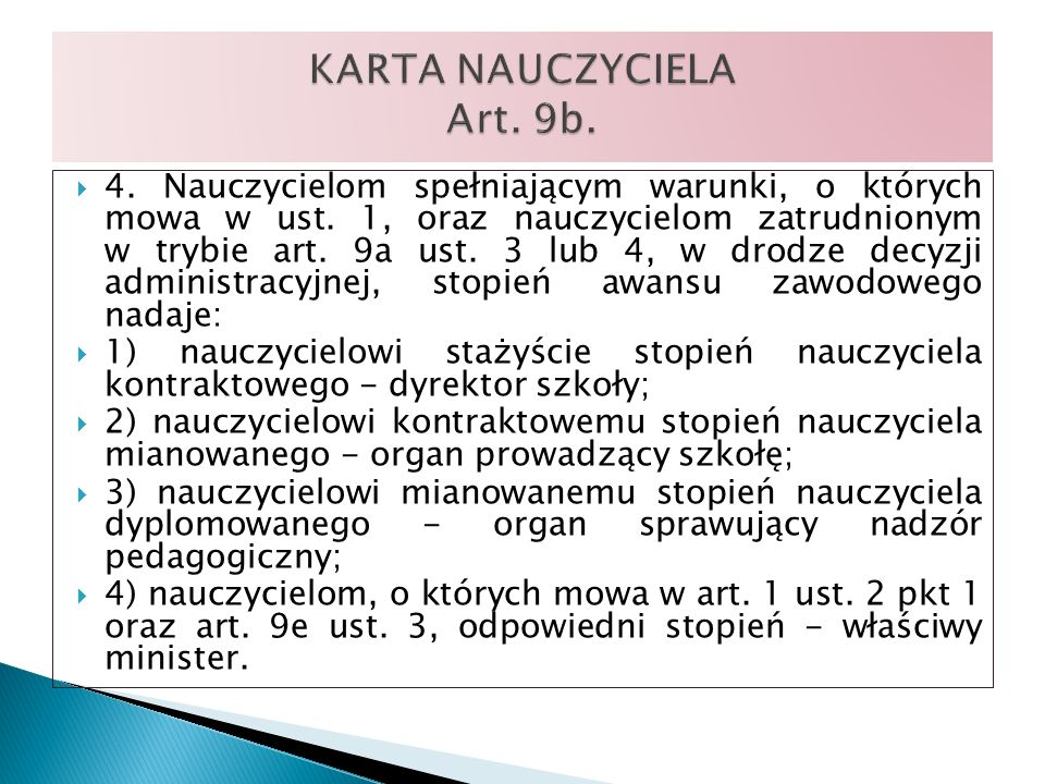 KARTA NAUCZYCIELA Art. 9b.
