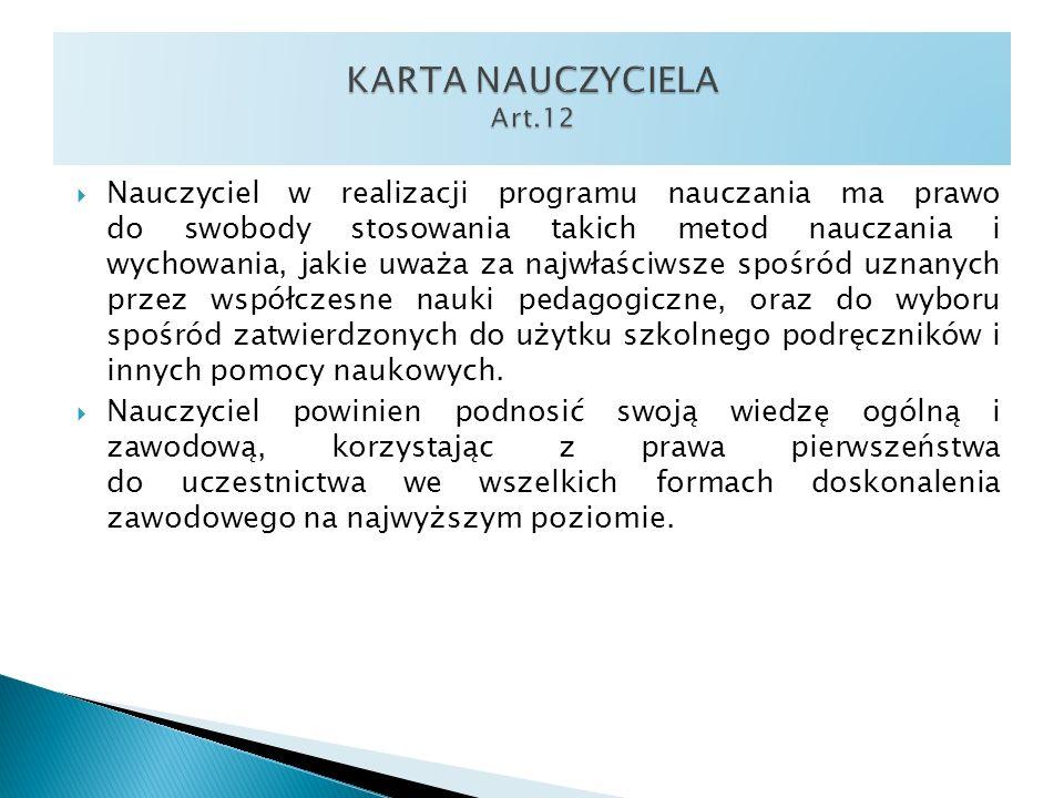 KARTA NAUCZYCIELA Art.12