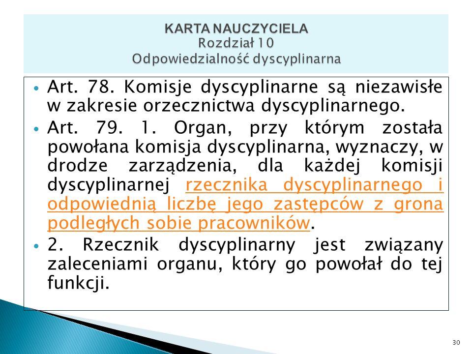 KARTA NAUCZYCIELA Rozdział 10 Odpowiedzialność dyscyplinarna