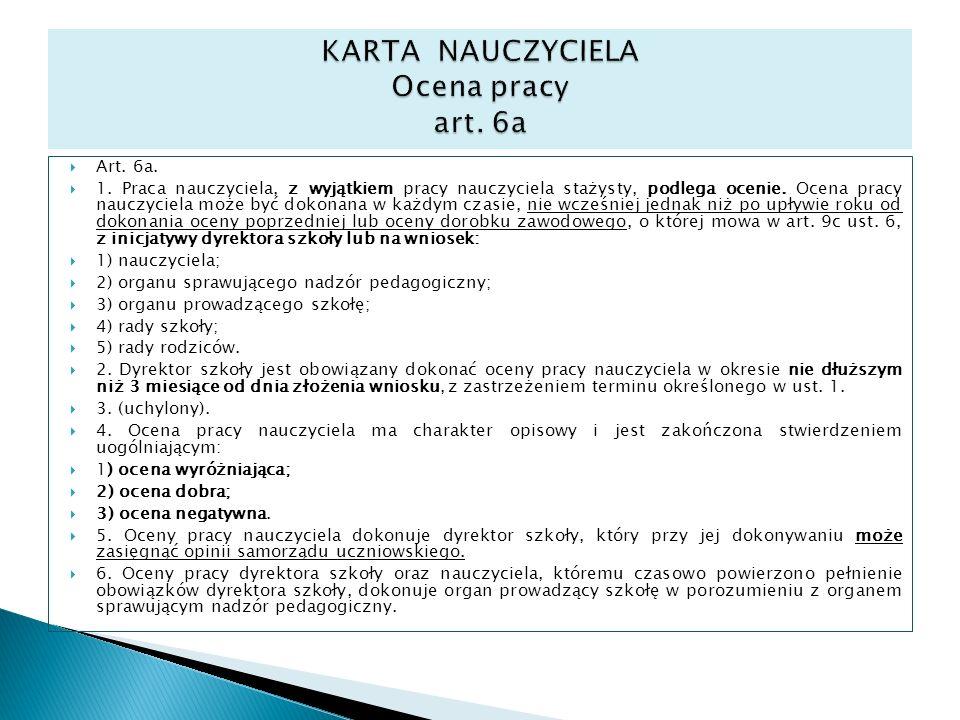 KARTA NAUCZYCIELA Ocena pracy art. 6a
