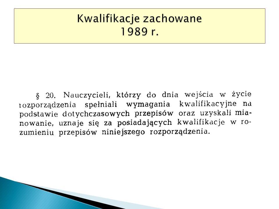 Kwalifikacje zachowane 1989 r.