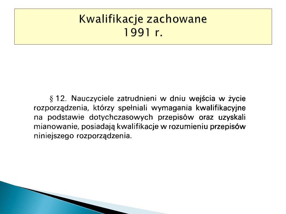Kwalifikacje zachowane 1991 r.
